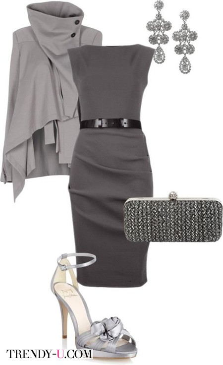 Серое платье и аксессуары