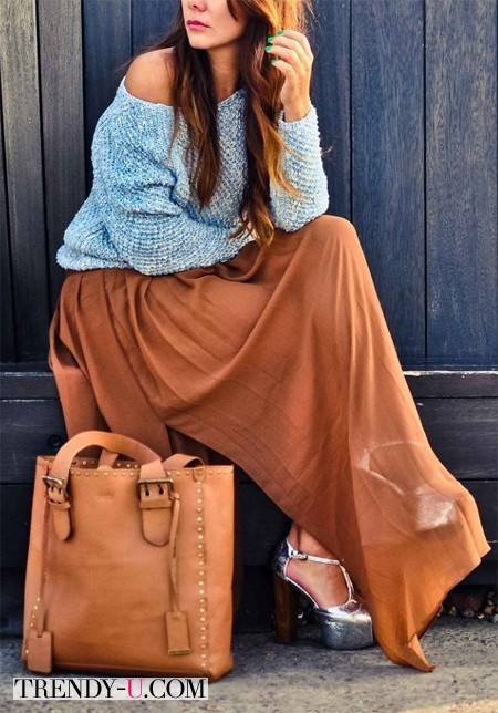 Шифоновая юбка в пол и свитер