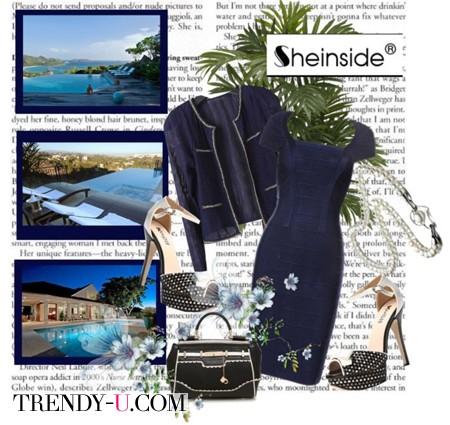 Темно-синее платье в деловом стиле