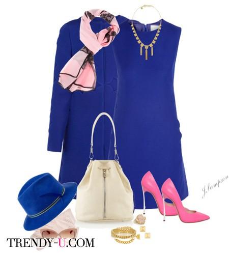 Синее платье и аксессуары
