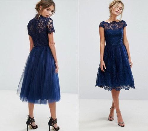 Синее платье из кружева