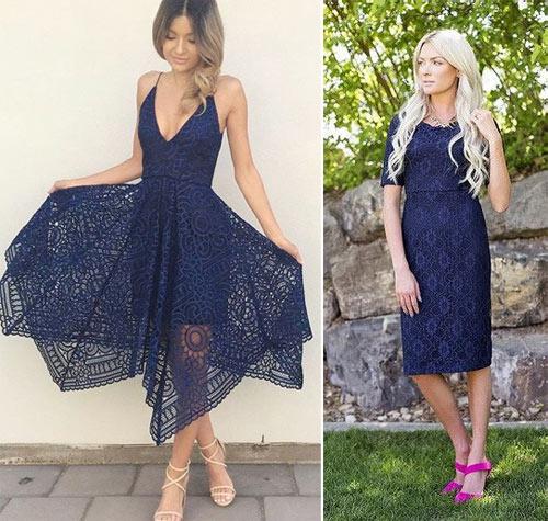 Обувь к кружевному синему платью