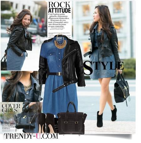 Синее платье и куртка-косуха