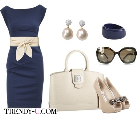 Синее платье - бежевые аксессуары