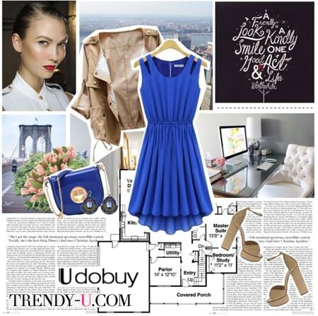 Синее платье и бежевая куртка