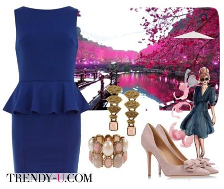 Синее платье с баской