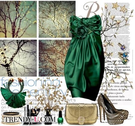Изумрудное нарядное платье и золотистые аксессуары