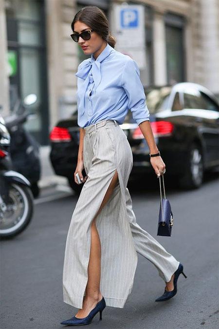 Бежевая длинная юбка и офисный стиль