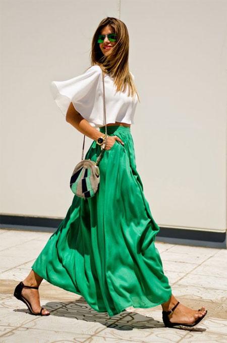 Зеленая юбка макси
