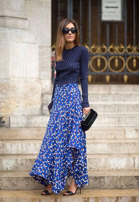 Длинная юбка из шифона в сочетании с водолазкой