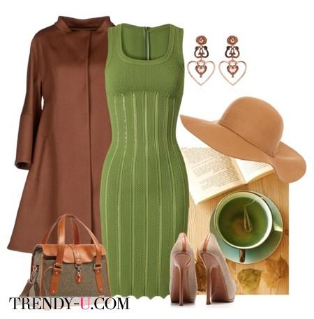 Зеленое платье и аксессуары в коричневой гамме