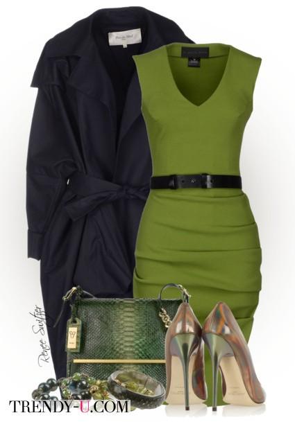 Зеленое платье, черное пальто, аксессуары