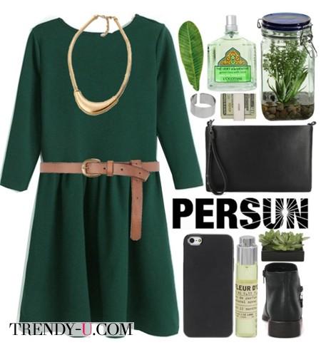 Повседневное зеленое платье и аксессуары