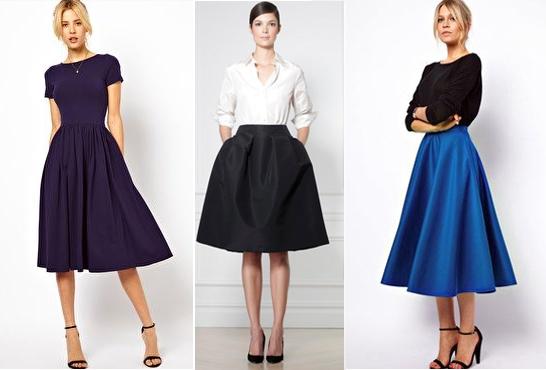 Пышные юбки для образов в деловом стиле