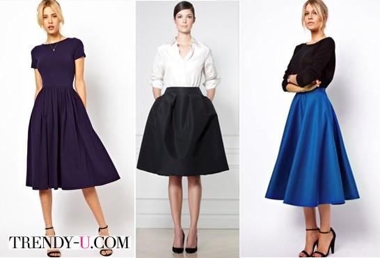 Пышные юбки для луков в деловом стиле