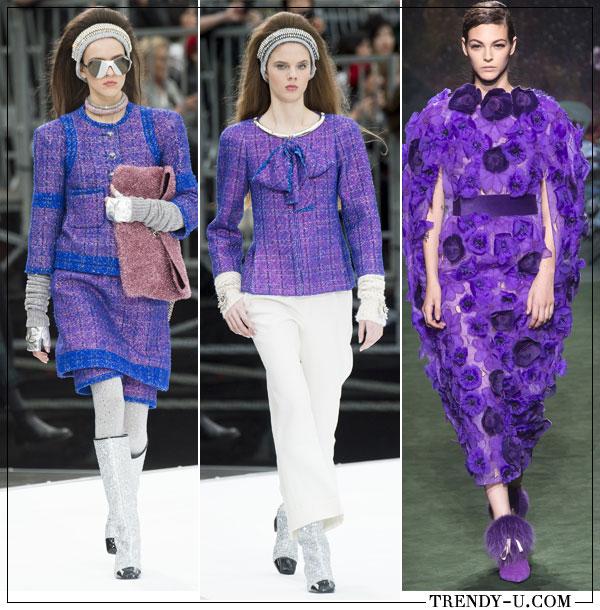 Цвет ультрафиолет в коллекции Chanel осень-зима 2017-2018 и Fendi Couture 2018
