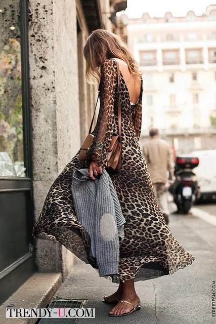 Летнее платье с леопардовым принтом
