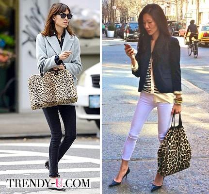Сумки с леопардовым принтом в руках уличных модниц