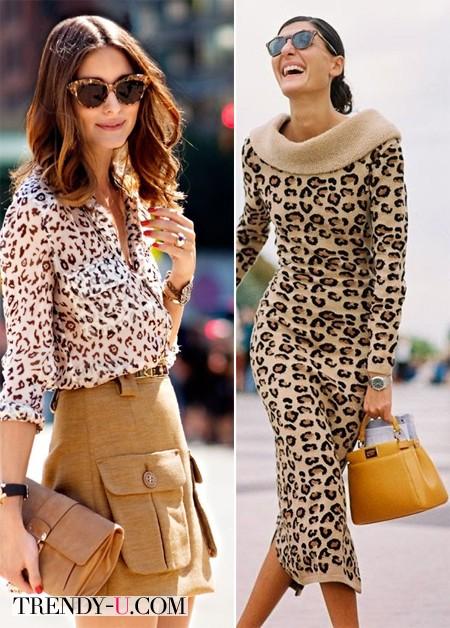 Луки с блузкой и платьем с леопардовым принтом