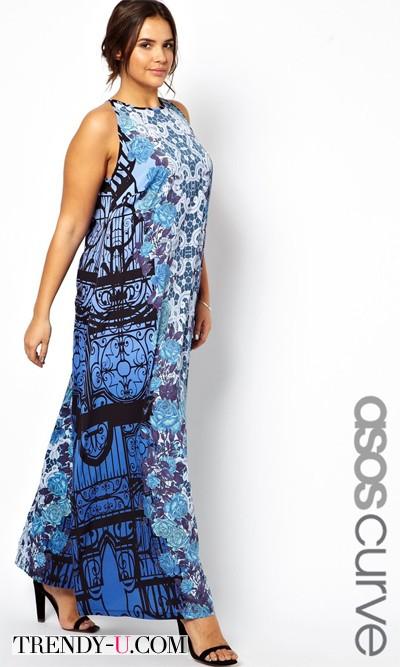 Модный сарафан в пол ASOS Curve на пышной женщине