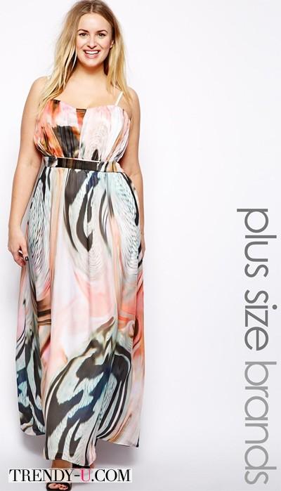 Летний сарафан в пол с принтом в стиле поп-арт на полной красавице