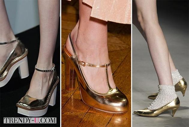 Модные золотистые туфли весна-лето 2014