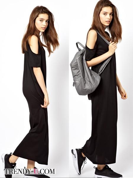 Черное платье-сарафан в спортивном стиле