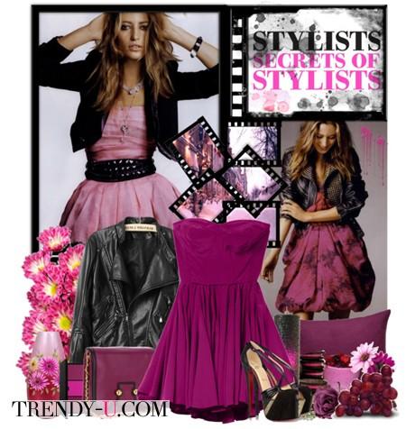 Фиолетовое платье и черная кожаная куртка