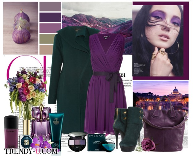 Фиолетовое платье и зеленые аксессуары
