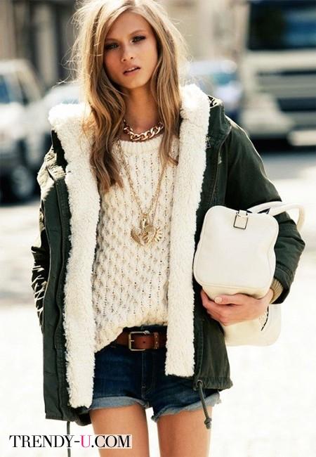 С чем носить шорты зимой?