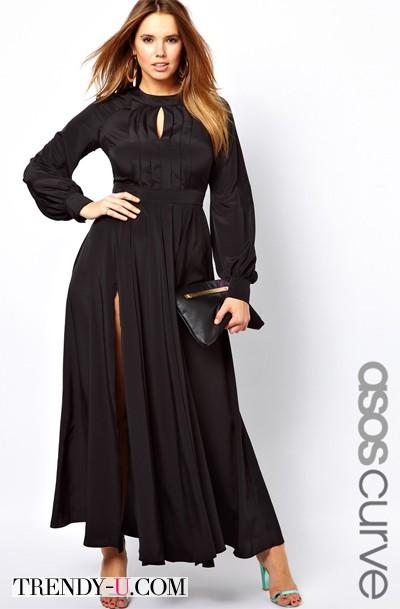 Нарядное черное платье для полной красавицы