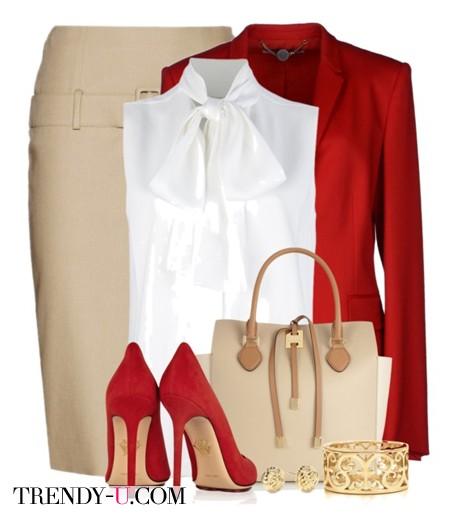Белая юбка с красным пиджаком и туфлями в тон