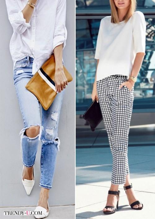 Белая рубашка / блузка в сочетании с брюками