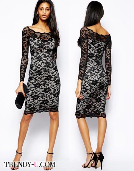 Черно-белое кружевное платье из магазина