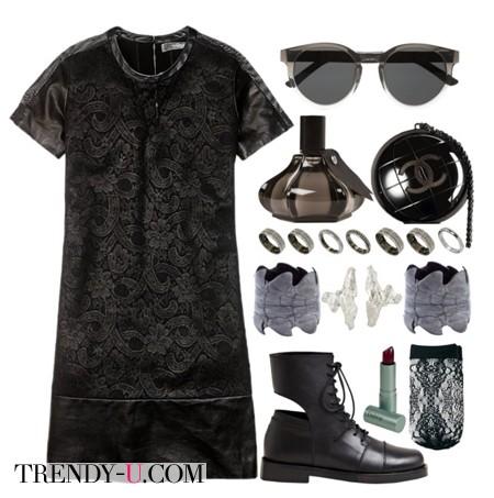 Черное кружевное платье и солдатские ботинки