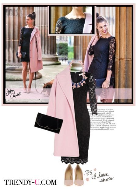 Платье с ажурными вставками и пальто