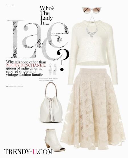 Белая пышная кружевная юбка и укороченный топ