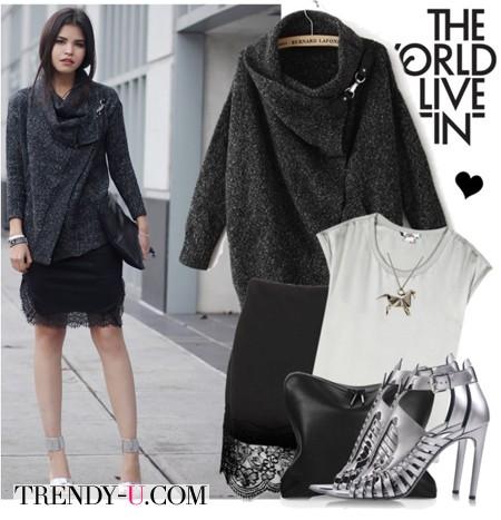 Черная короткая кружевная юбка