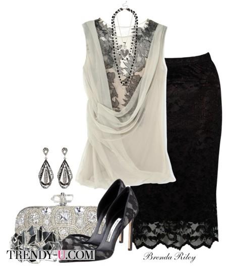 Кружевная черная юбка и белая блузка