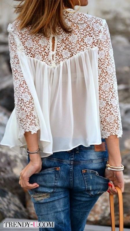 Шифоновая блузка и джинсы