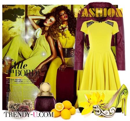 Желтое платье - баклажанного цвета куртка