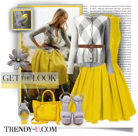 Желтое платье и кардиган