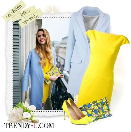 Желтое платье и голубое пальто