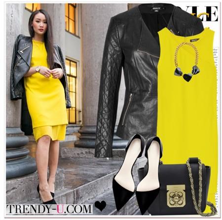 Желтое платье и черная кожаная куртка