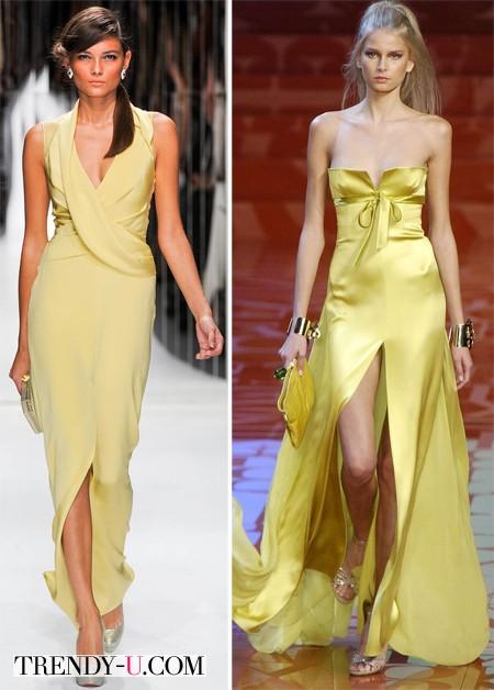 Вечерние желтые платья