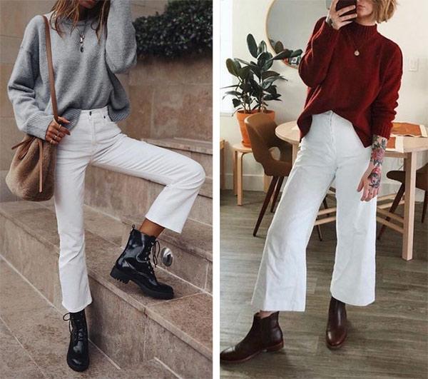 Свитер и белые брюки. Образы для осени 2021