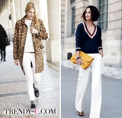 Девушки в белых брюках