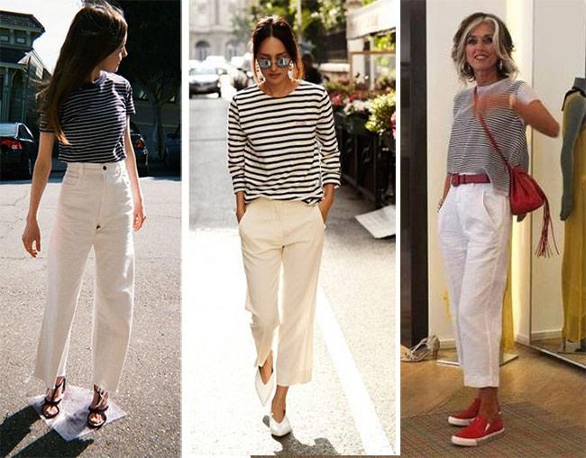 Белые брюки в сочетании с тельняшкой