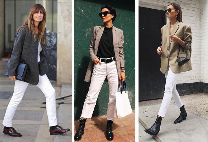 Образы для осени: брюки и чиносы белого цвета и пиджак
