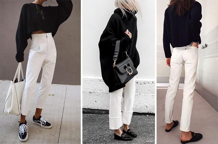 """Белые брюки и черный """"верх"""""""